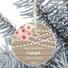 First Christmas Engaged Keepsake Ceramic Xmas Tree Decoration - Rustic Wood and Flowers Design